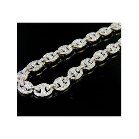 10K Yellow Gold Diamond Puff Mariner GG Chain Necklace 13 CT - White Gold Mariner Chain