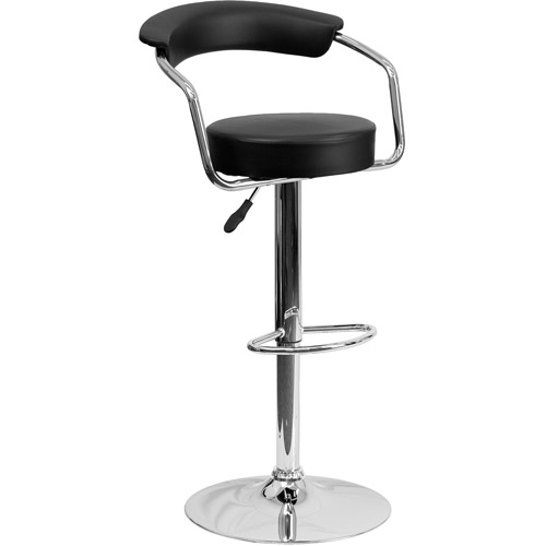 Contemporary Vinyl Adjustable Height Barstool with Arms and Chrome Base, Set of 2, Multiple Colors