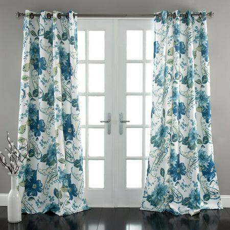 Floral Paisley Window Curtains Blue Set Walmart Com