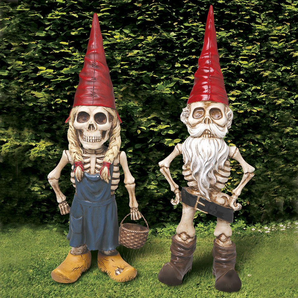 Exclusive Man And Woman Skel -A- Gnomes Skeleton Garden Statue ...