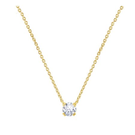 GEMOUR Yellow Gold Plated Sterling Silver 1 ct Round Cut Cubic Zirconia Solitaire Necklace