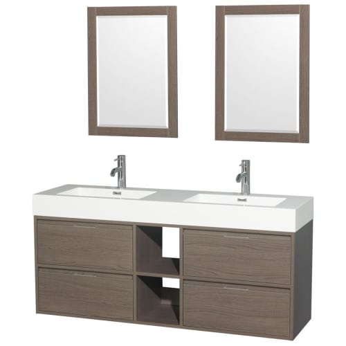 "Wyndham Collection WCR460060D24 60"" Daniella Double Bathroom Vanity with Acrylic"