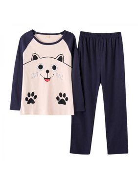 Fymall Women Girls Cute Long Sleeve Pajama Set Ladies Home Service Suit
