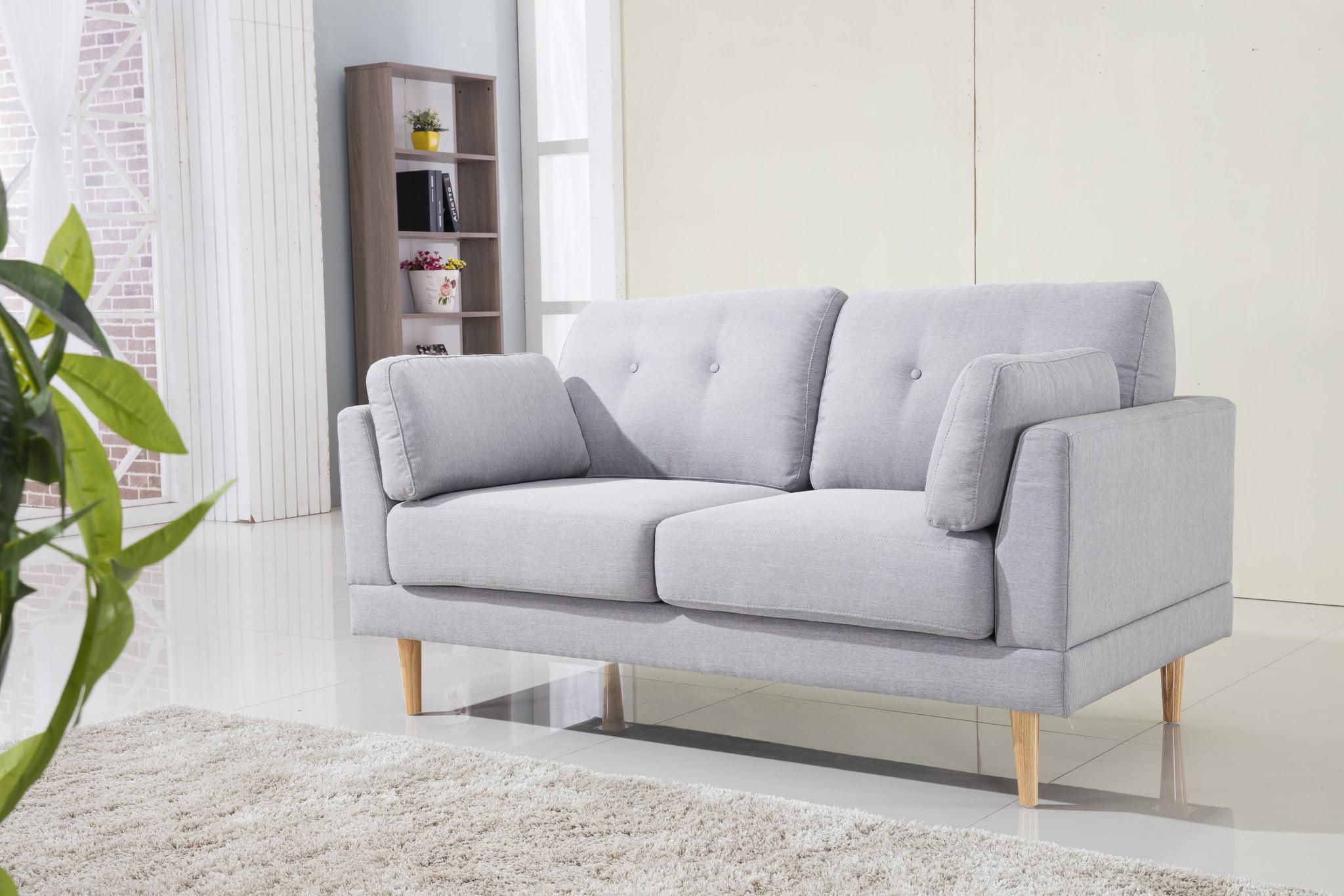 Bon Mid Century Modern Ultra Plush Linen Fabric Loveseat   Walmart.com