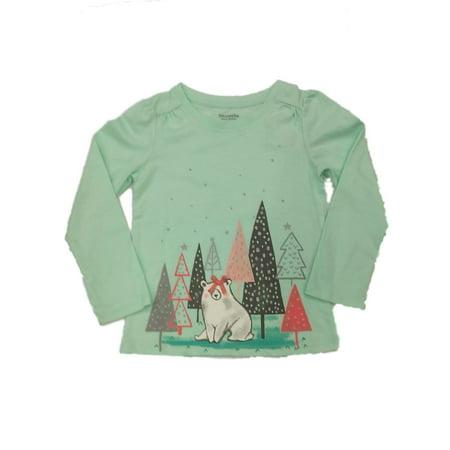 8873d26b43f2 Girls Mint Green Glitter Tree Polar Bear Long Sleeve Christmas Holiday T- Shirt - Walmart.com