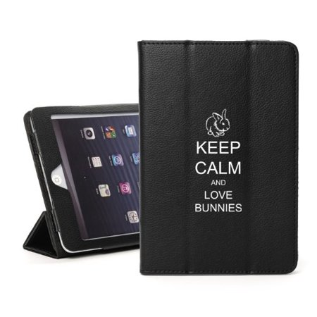 For Apple iPad Mini 4 Black Leather Magnetic Smart Case Cover Keep Calm and Love Bunnies (Bunny Case Ipod 4)
