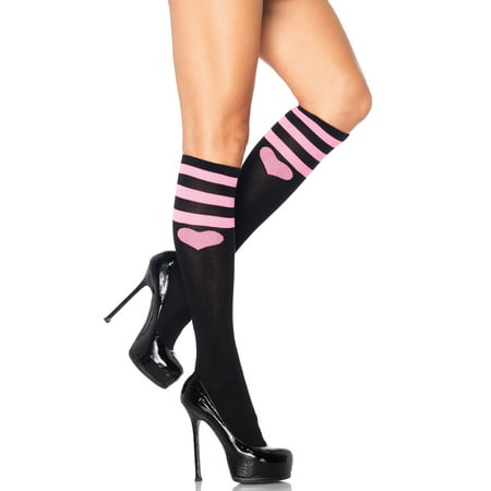 Leg Avenue Women's Sweetheart Athletic Knee Socks, Black, One Size