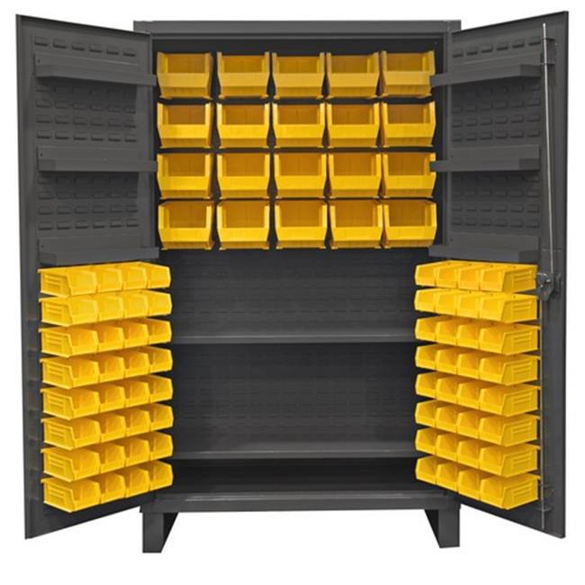 12 Gauge Recessed Door Style Lockable Cabinet with 84 Yellow Hook on Bins & 2 Adjustable 6 Door Shelves, Gray - 48 in.