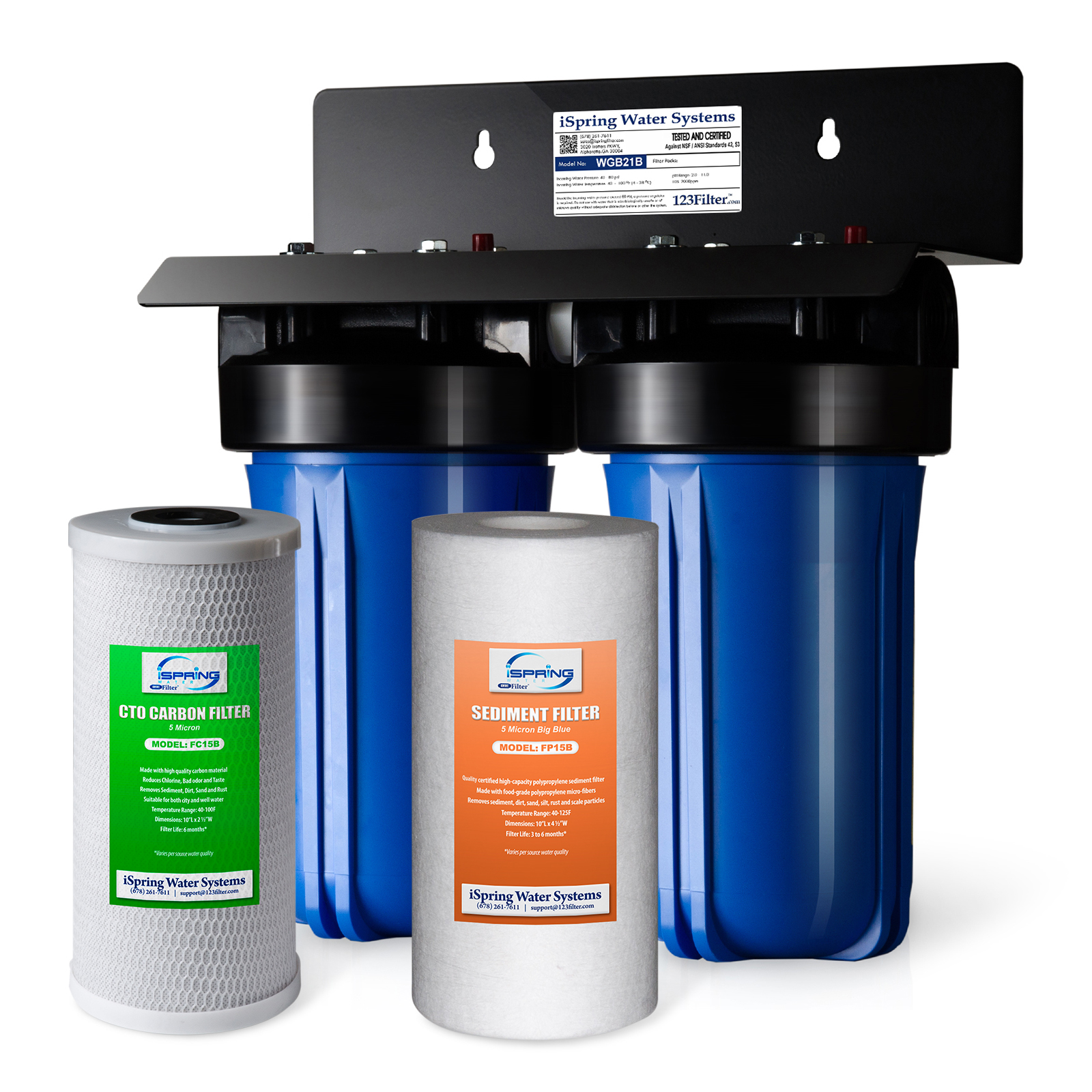 "iSpring Whole House Water Filtration System 2-stage w/ 4.5""X10"" Sediment and Carbon Block Filters #WGB21B"