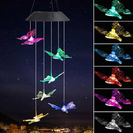 Solar Powered LED Wind Chime Outdoor, Color-Changing Led Butterfly Wind Chimes, Automatic Light Sensor Outdoor Indoor Decor,Yard Decorations Solar Light Mobile,Memorial Wind Chimes(Birthday Gifts)