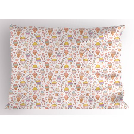 - Ice Cream Pillow Sham Cute Candies and Yummy Heart Figures Summer Flower Color Dots Kids Design, Decorative Standard Size Printed Pillowcase, 26 X 20 Inches, Peach Coral Mint, by Ambesonne