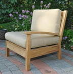 "35"" Natural Teak Sectional Left Seating Outdoor Patio Chair w/ Brown Cushions"