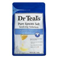 (2 pack) Dr Teal's Pure Epsom Salt Soaking Solution, Soften & Nourish with Milk & Honey, 3 lb