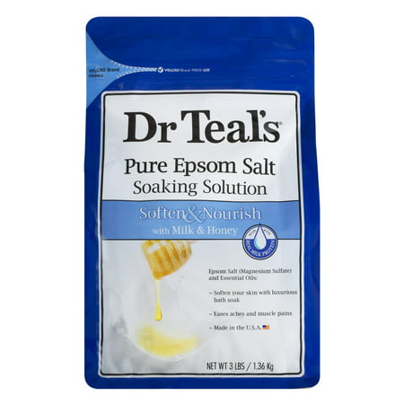 Dr Teal's Pure Epsom Salt Soaking Solution, Soften & Nourish with Milk & Honey, 3 lb