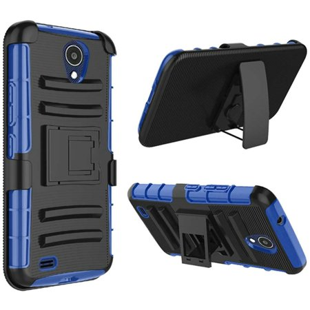 For AT&T Axia (2018) Case Advanced Hybrid Phone Cover Holster (Black/Blue)