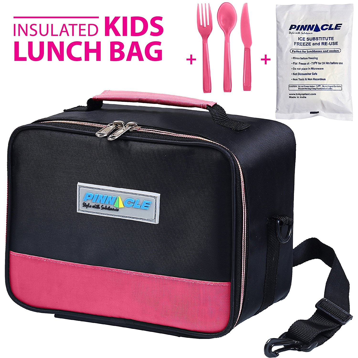 INSULATED LUNCH BOX - PINNACLE Insulated Lunch Bag For Kids, Girls, Boys, Toddlers - Thermal Reusable Lunch Tote - School Lunch Bag With BONUS GEL ICE PACK And MATCHING CUTLERY - 2 Way Zipper - PINK