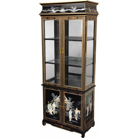 Lacquer Curio Cabinet, Black Mother of Pearl Ladies