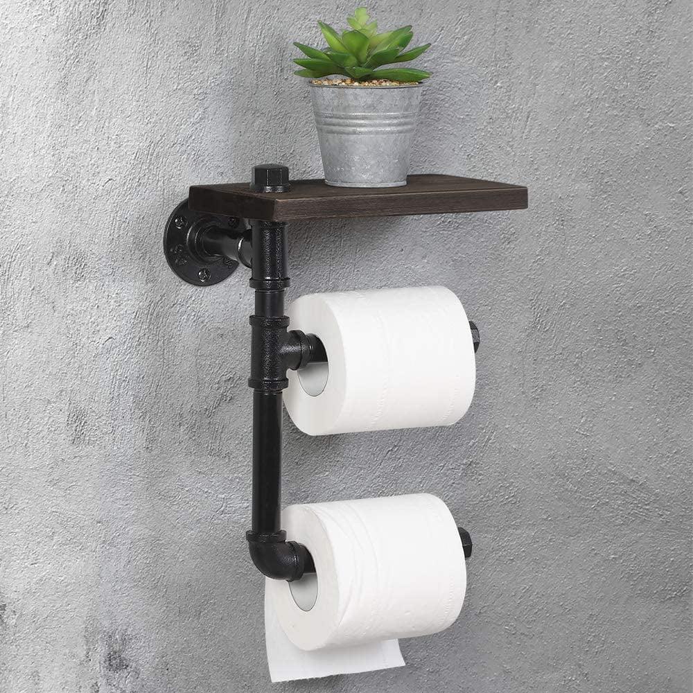 Toilet Paper Dispenser Bathroom Organizer Roll Holder Industrial Cast Iron Pipe