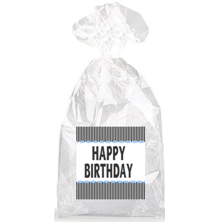 Happy Birthday Blue Accents with White and Black Stripes  Party Favor Bags with Ties - 12pack