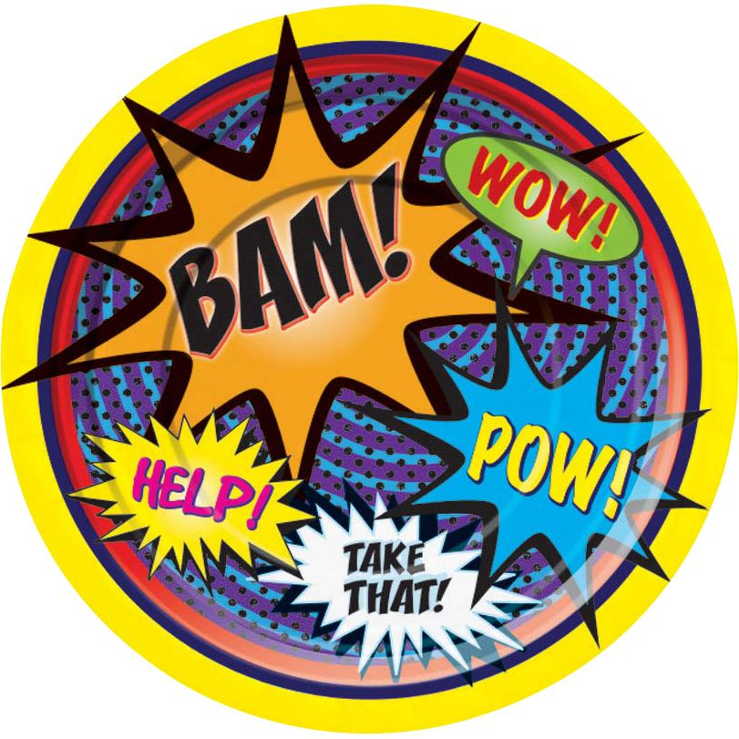 Superhero Cake Plate (8 Pack) - Party Supplies