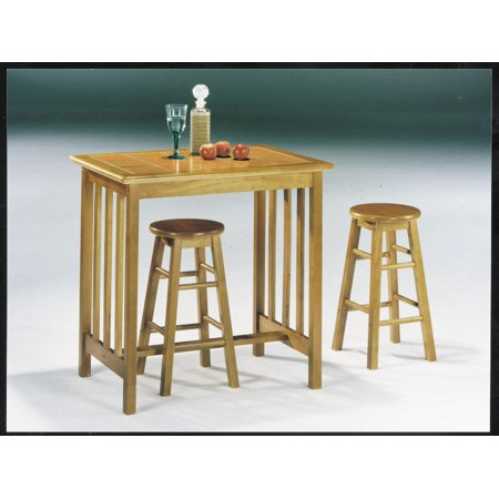 - Simple Relax Metro Breakfast Counter Height Dining Set Table Stools Tile Top Oak Terracotta