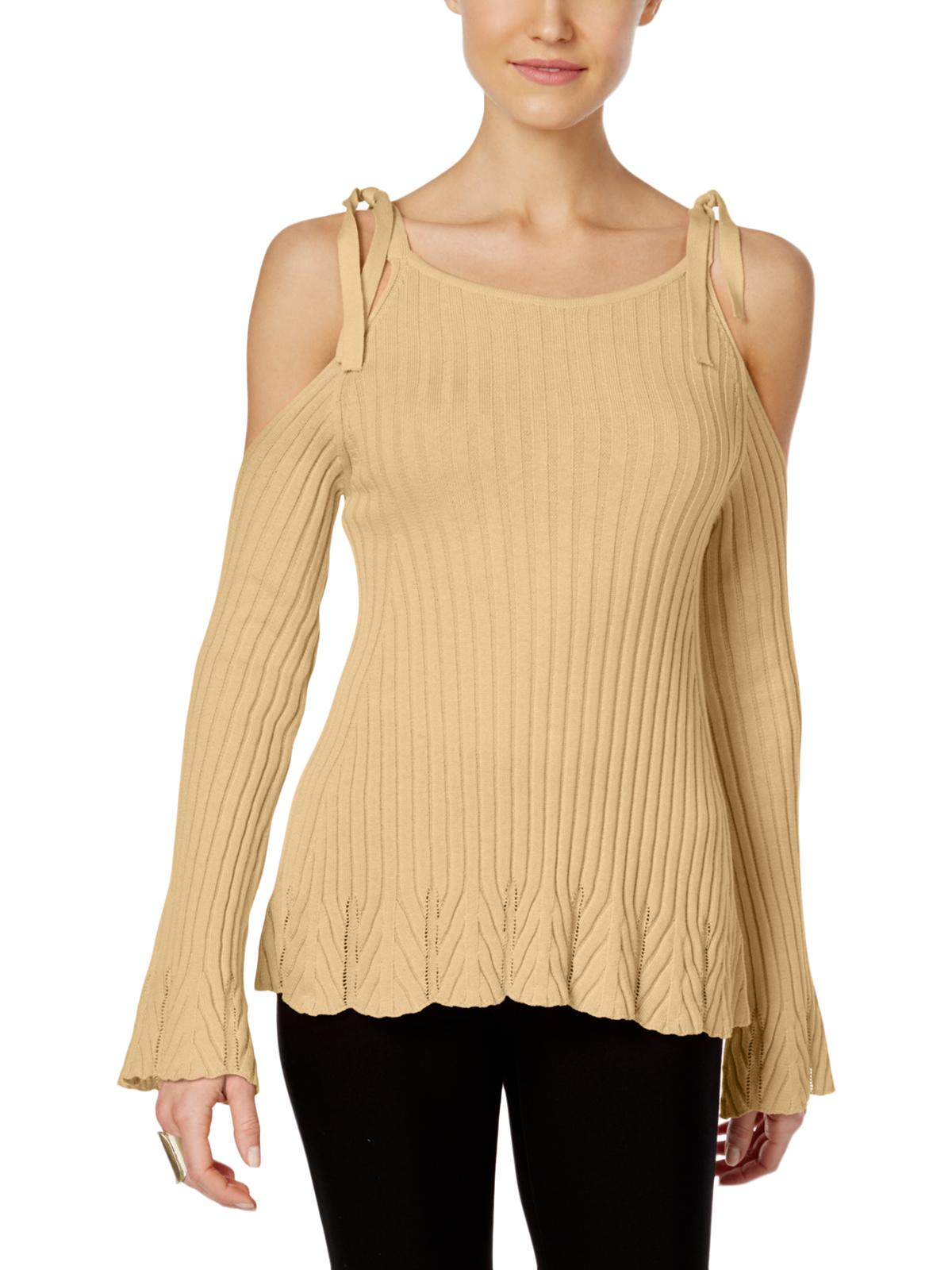 ECI Womens Cold Shoulder Crew Neck Pullover Sweater