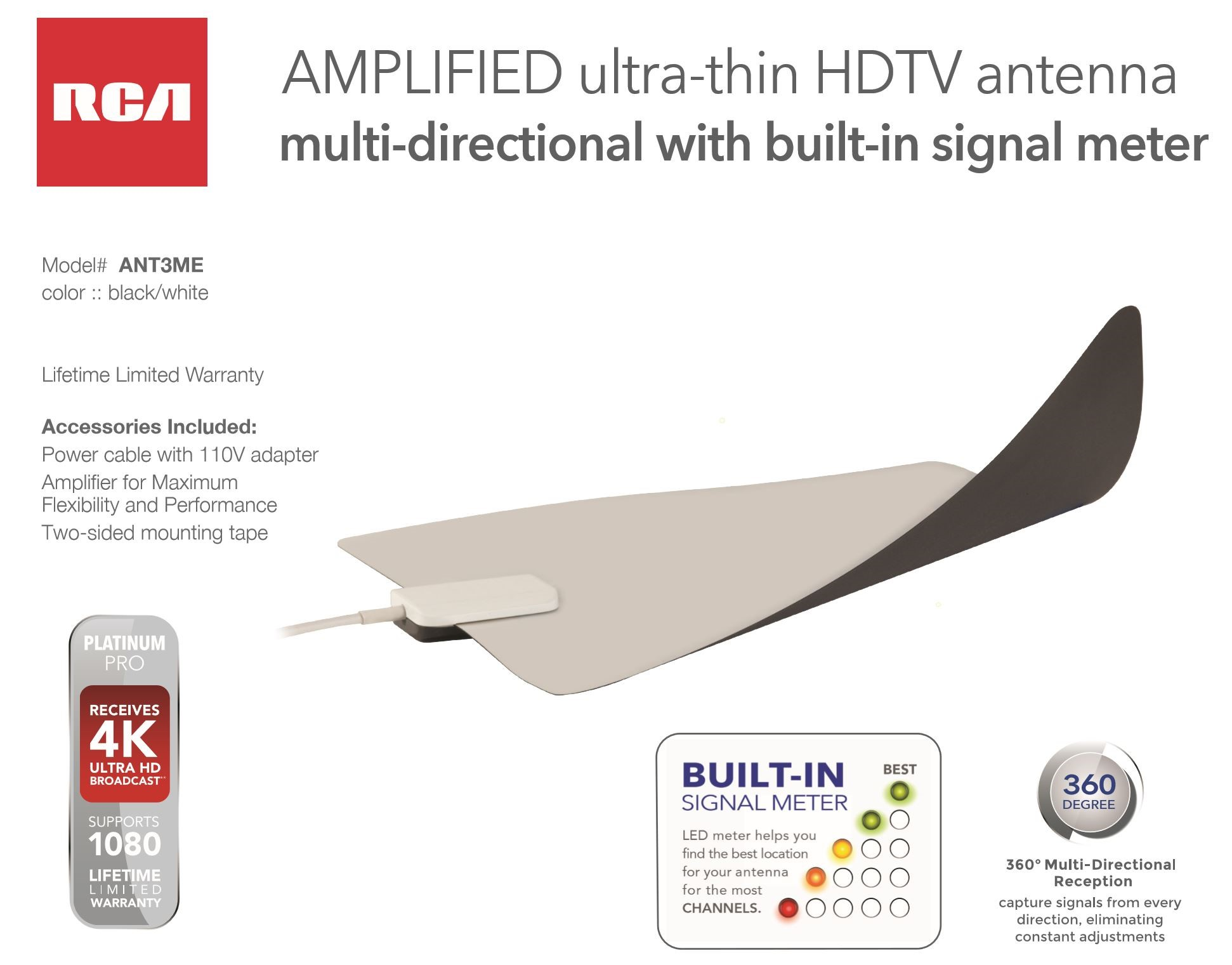 RCA Ultra Thin Multi-Directional Amplified Indoor Antenna with Signal Meter  ANT3ME