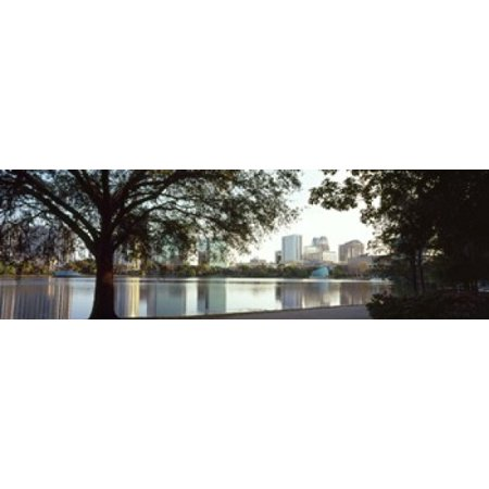 Buildings at the waterfront Lake Eola Orlando Orange County Florida USA Canvas Art - Panoramic Images (36 x 12) ()