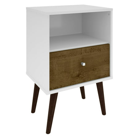 Manhattan Comfort Liberty Mid Century - Modern Nightstand 1.0 with 1 Cubby Space and 1 Drawer in White and Rustic Brown with Solid Wood Legs