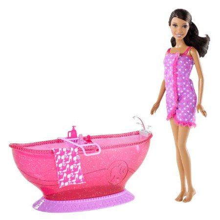 barbie bath tub and barbie african american doll playset. Black Bedroom Furniture Sets. Home Design Ideas