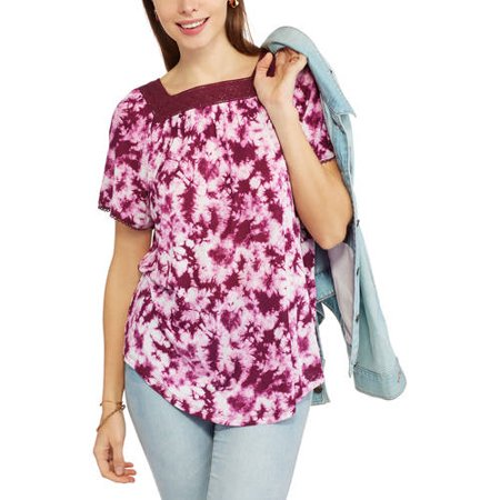 Women's Short-Sleeve Square Neck All-Over Print Peasant Top With Embroidery