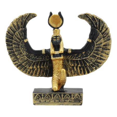 Ebros Egyptian Classical Deities Miniature Figurine Gods Of Egypt Dollhouse Miniature Statue Legends Of Ancient Egypt Educational Sculpture Collectible (Goddess Isis With Open Wings) - Egyptian Cat Goddess