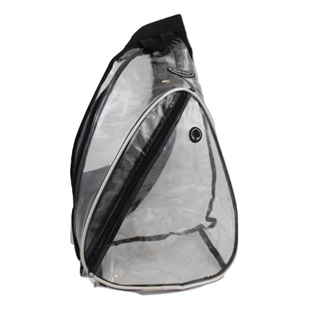 Transparent Vinyl Lanyard - Travel Sport See Through Transparent Clear PVC Vinyl One Shoulder Sling Triangle Backpack School Bag Hiking