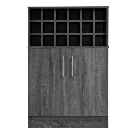 Ridgecrest Mid Century Finished Faux Wood Wine and Bar Cabinet, Sonoma Grey Oak