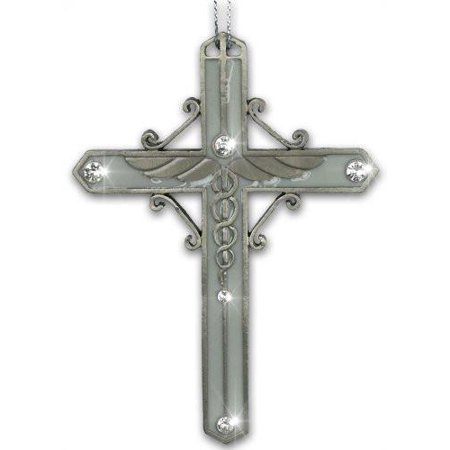 Nurse Cross Ornament Enameled Filigree Metal with Caduceus and Jewels - Healing Hands - Gift Boxed for Nurse - Best Gifts For Nurses