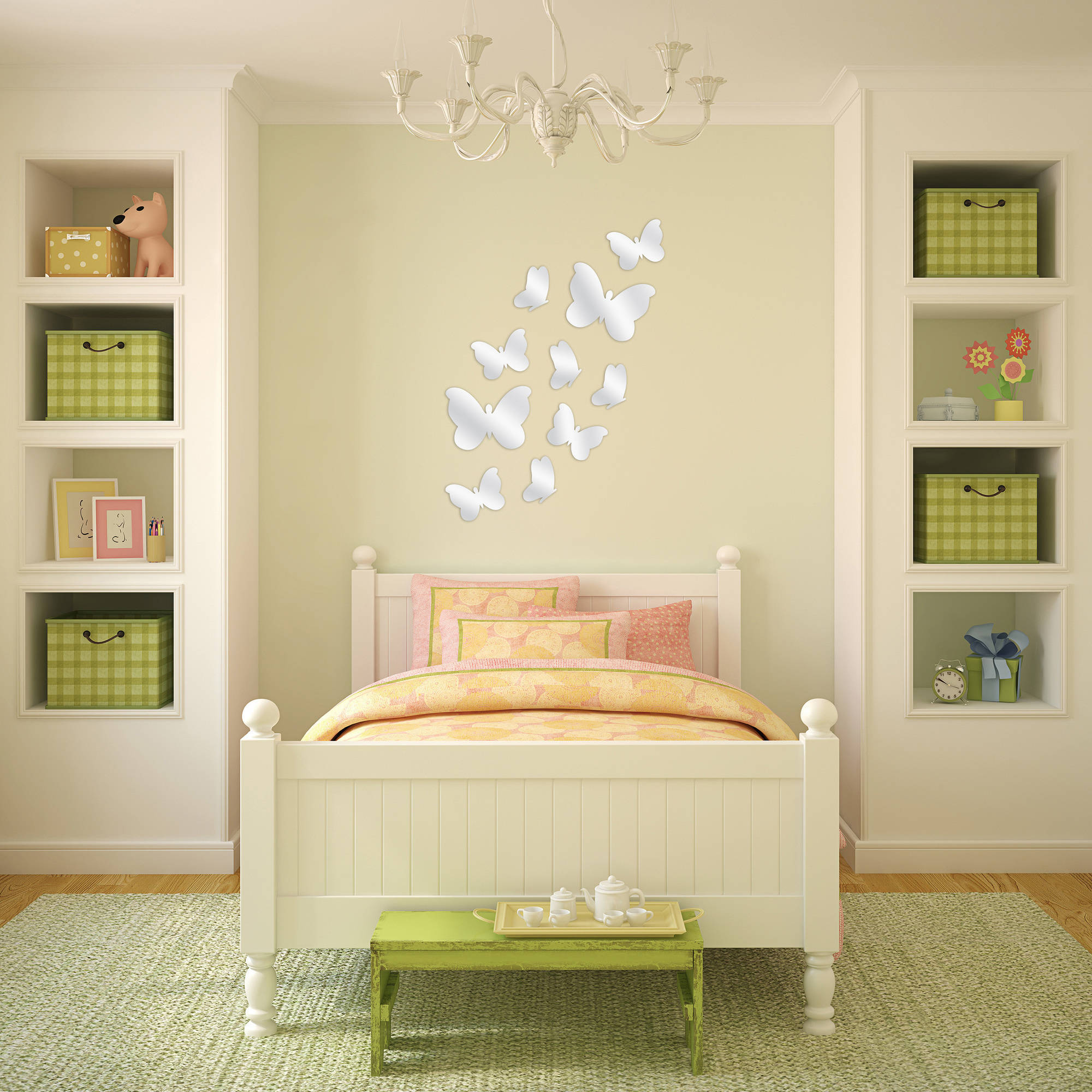 Better Homes and Gardens 10-Piece Butterfly Peel and Stick Mirror Set