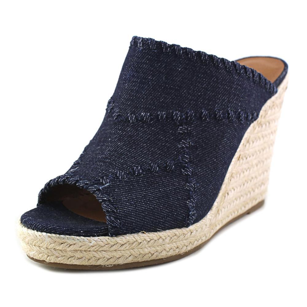 Crown Vintage Mariana Women Open Toe Canvas Blue Wedge Sandal by Crown Vintage