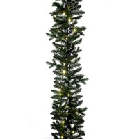 """9' x 12"""" Pre-Lit Classic Green Artificial Christmas Garland – White LED Lights"""