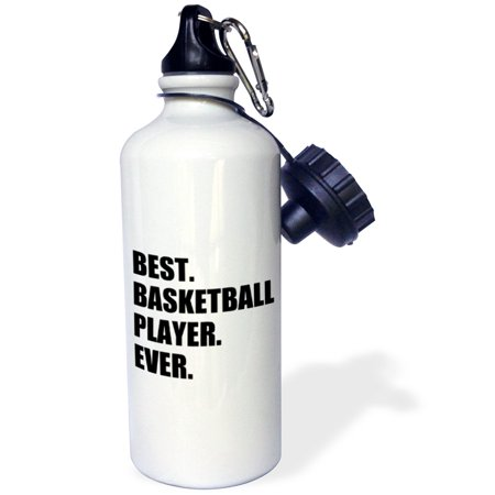3dRose Best Basketball Player Ever - bold black text sport talent bball pride, Sports Water Bottle,