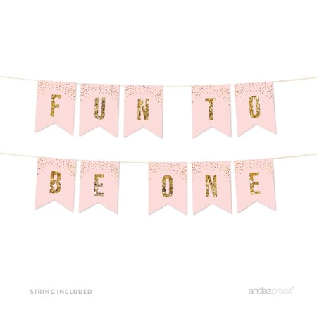 Fun to Be One, Pink Gold Glitter 1st Birthday Party Pennant Banner
