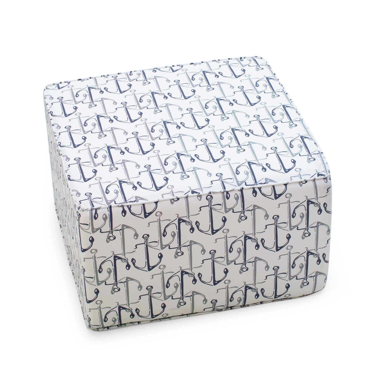 Coral Coast Nautical 25 in. Square Pouf Outdoor Ottoman