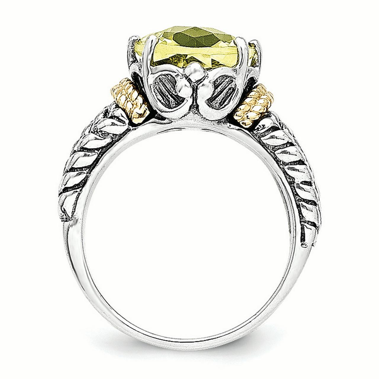Sterling Silver Two Tone Silver And Gold Plated Sterling Silver w/Lemon Quartz Ring - image 2 de 3