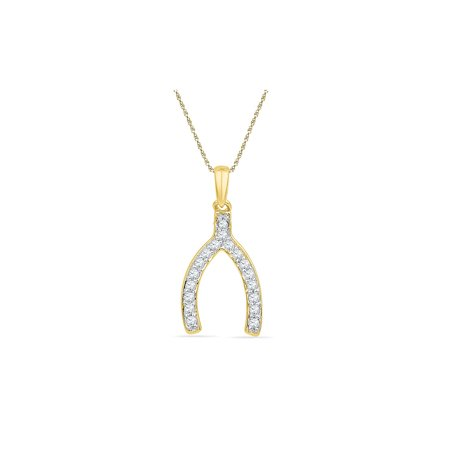 10k Yellow Gold Womens Round Diamond Lucky Wishbone Fortune Pendant 1/6 (Yellow Gold Diamond Wishbone)