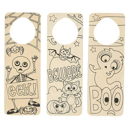 Pinterest Halloween Door Hangers (Color Your Own Wood Halloween Door Hangers - Craft Kits - 12)