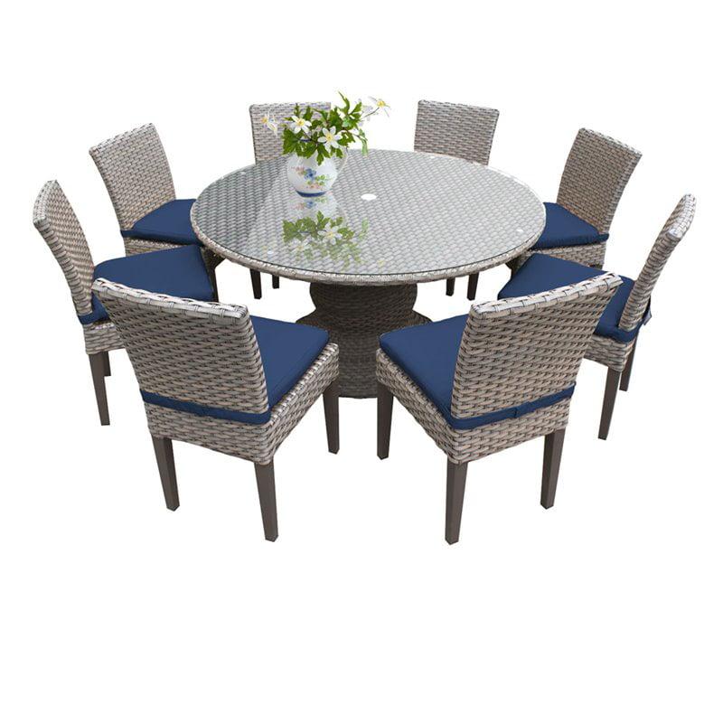 "60 Round Glass Dining Set: TKC Oasis 9 Piece 60"" Round Glass Top Patio Dining Set"