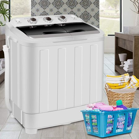 Zeny Portable Compact Mini Twin Tub Washing Machine Washer XL 17.6lbs Capacity w/Wash and Spin Cycle, Built-in Gravity Drain (Electric Washing Machine)