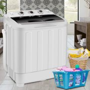 Zeny Portable Compact Mini Twin Tub Washing Machine Washer XL 17.6lbs Capacity w/Wash and Spin Cycle, Built-in Gravity Drain