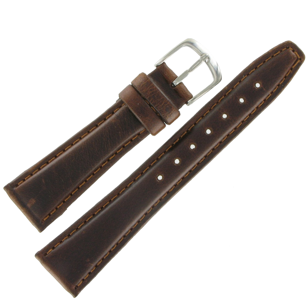 Hadley Roma MS881 16mm Brown Short Oil Tan Leather Mens Watch Band