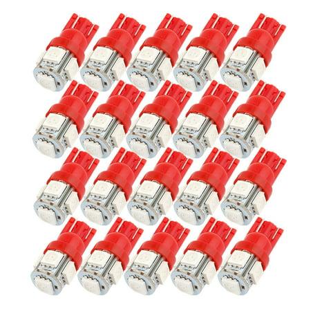 Unique Bargains 20Pcs T10 194 168 W5w 5050 Smd 5 Led Car Side Light Bulb Dashboard Lamp Red