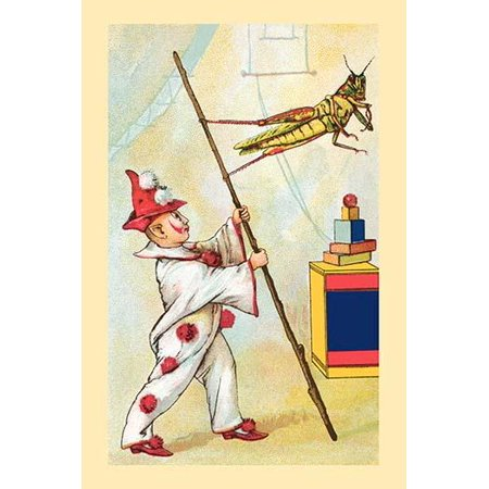 A Grasshopper Holds Onto A Branch With Only Its Back Legs  A Clown Holds It Like A Flag In This Daring Circus Performance Poster Print By Frolie